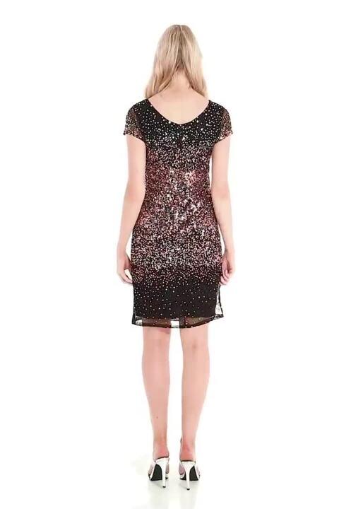 Ombre Sequin Dress in Black - Roman Originals UK 697808ec3ec7