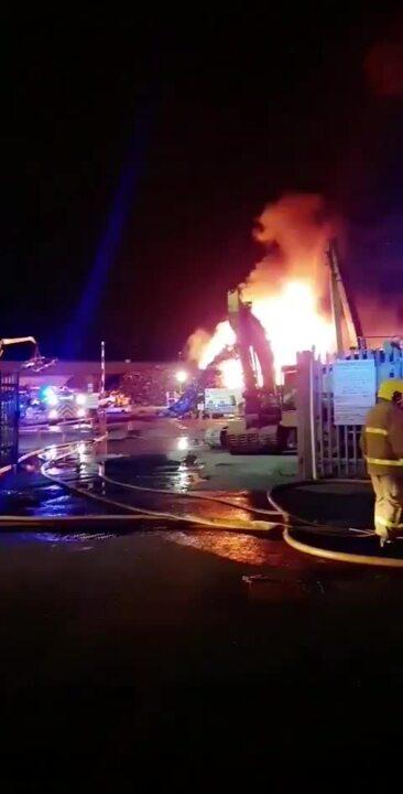 Duncrue Belfast fire at scrap metal yard
