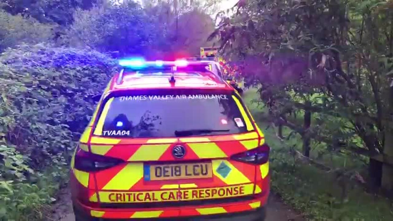 Ambulance crews at the scene of an incident near Southcote Lock