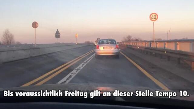 Tempo 10 auf A-20-Behelfsbrücke (Video: Philipp Schulz | 03.03.2021)