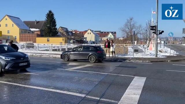 Polizeikontrolle in Wolgast Richtung Usedom (Video Tilo Wallrodt,14.2.2021)