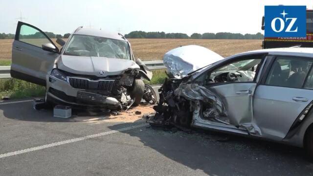 Schwerer Verkehrsunfall auf der B 111 bei Gribow - Video Tilo Wallrodt 24.07.2021