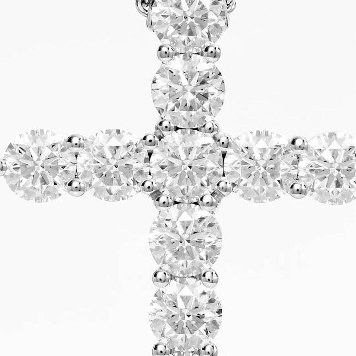 Round Diamond Cross Small Pendant