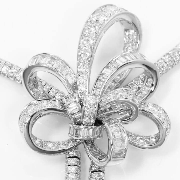 Tilda's Bow Double Diamond Drop High Jewellery Necklace