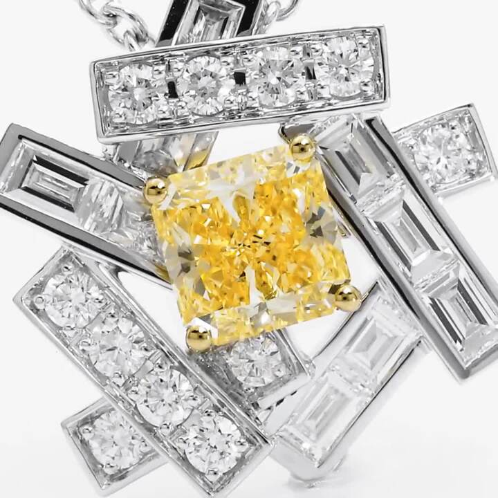 Threads Yellow and White Diamond Pendant