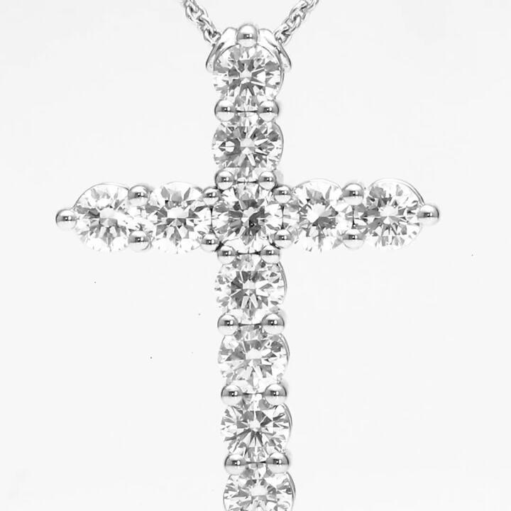 中號圓形鑽石十字架造型吊墜