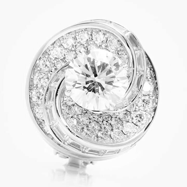 Swirl Round Diamond Stud Earrings