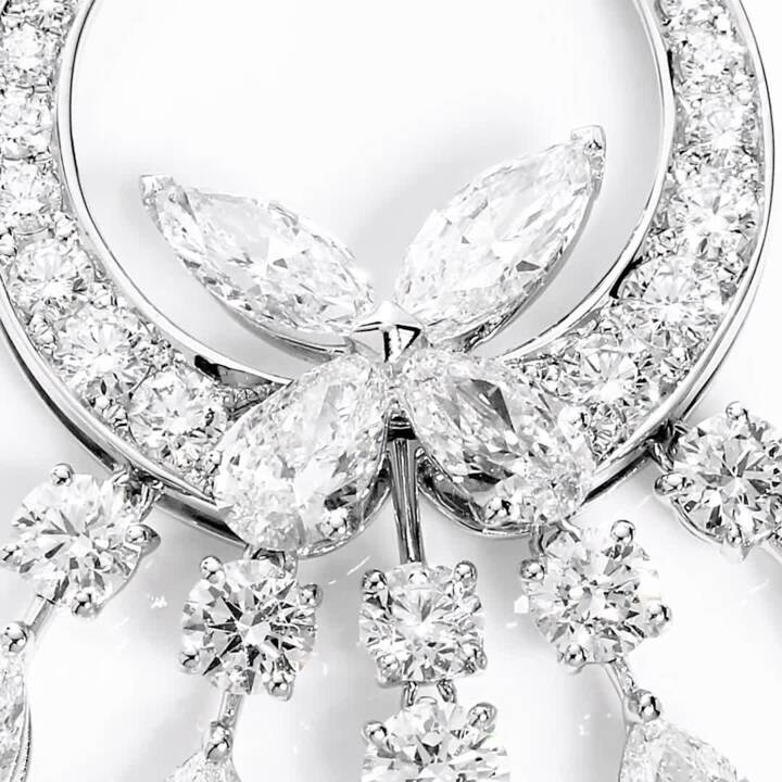 Classic Butterfly Chandelier Diamond Necklace