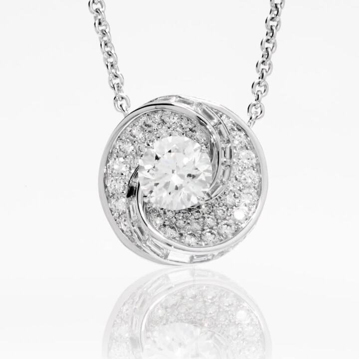 Swirl Round Diamond Pendant