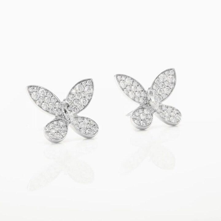 繾綣蝴蝶鑽石耳釘