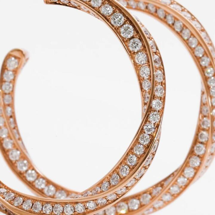 Spiral鑽石環圈耳環