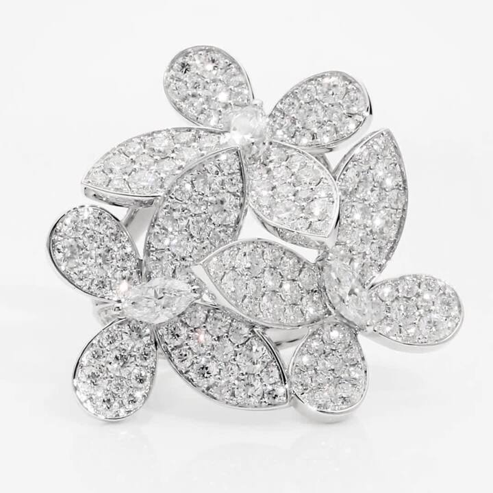 Triple Pavé Butterfly Diamond Ring