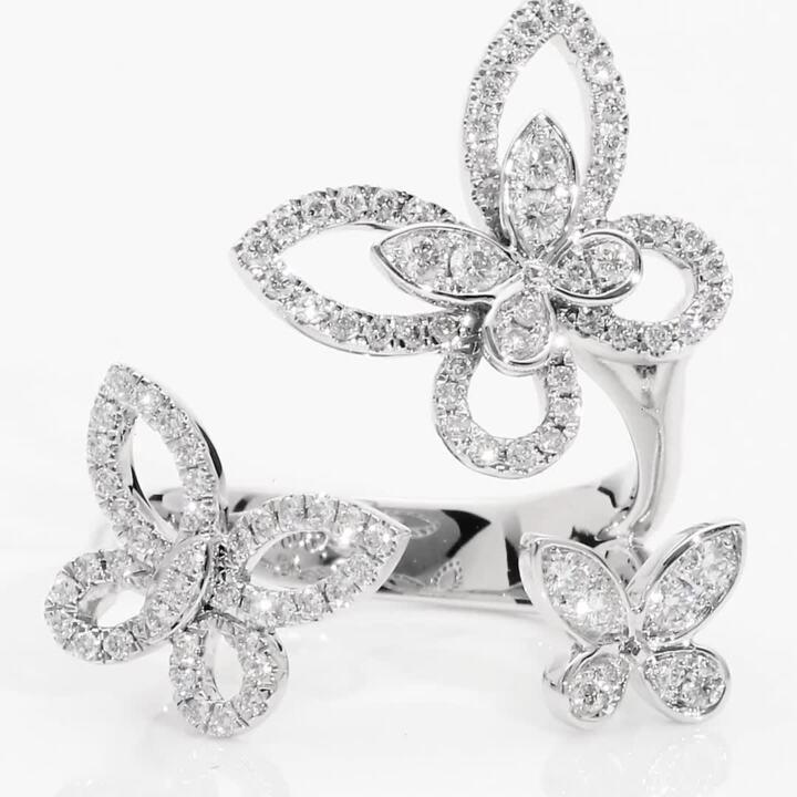 蝴蝶幻影三重奏鑽石戒指