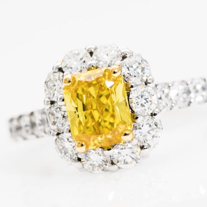 Icon Cushion Cut Yellow and White Diamond Engagement Ring