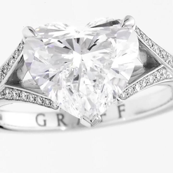Bague en diamants en forme de cœur