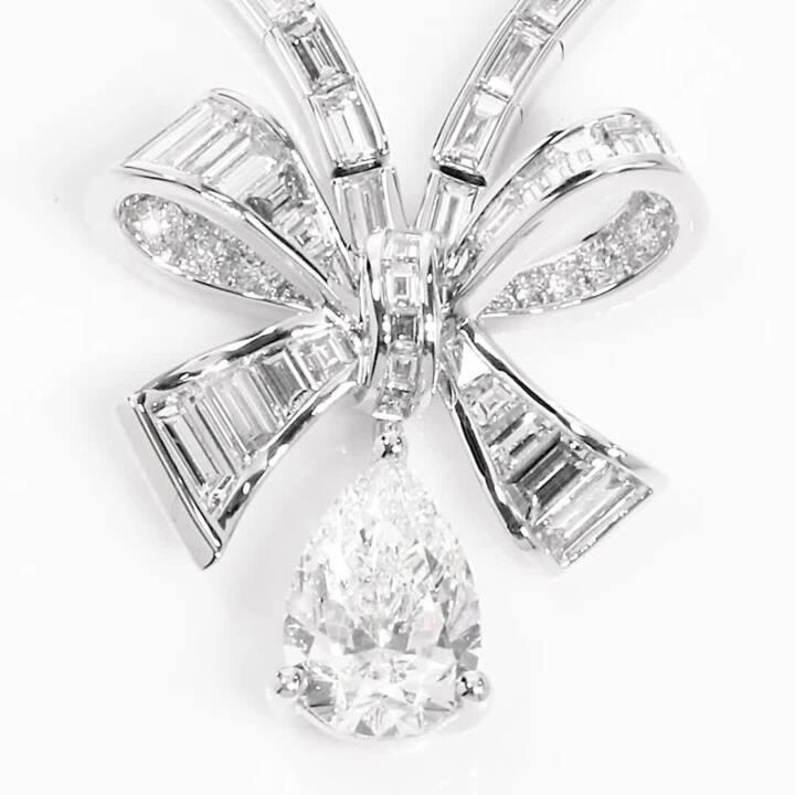 Tilda's Bow Baguette Cut Diamond Drop Necklace