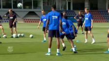 Suave entrenamiento del Barça tras el debut en Champions