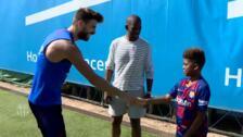 El Barça recibe la visita de Chris Paul en el entrenamiento