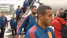 La selección española de fútbol llega a Oslo