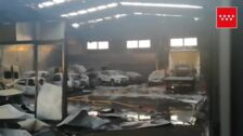 Incendio en una nave de coches en Villarejo de Salvanés
