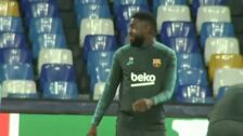 El Barça se ha entrenado sobre el césped de San Paolo