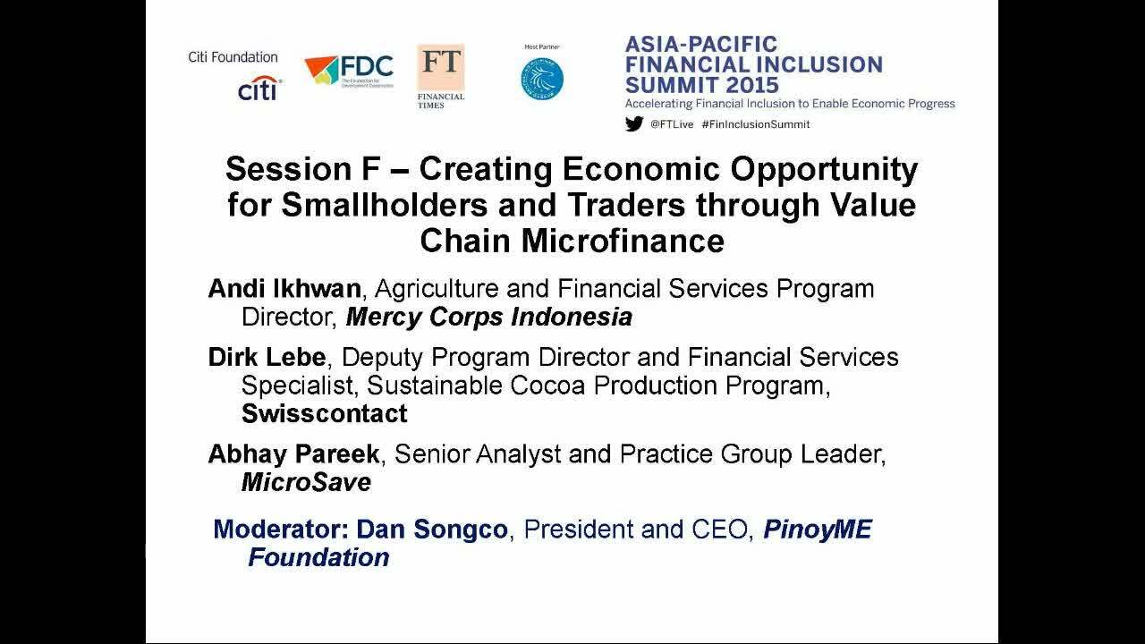 Asia-Pacific Financial Inclusion Summit 2015 organised by FT Live