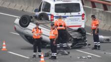 Tres heridos en un accidente de tráfico en el corredor del Txorierri a la altura de Sondika