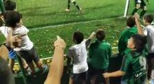 Locura en las gradas tras el gol del Sestao en el descuento