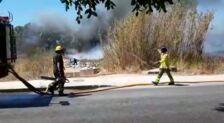 Aparatoso incendio en las inmediaciones de la carretera de la Azucarera-Intelhorce