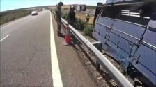 Un camión cargado de cerdos vuelca en la mediana de la A-5 en Talavera la Real