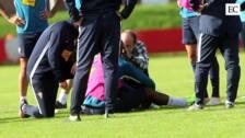 Babin se retira del entrenamiento tras un golpe en la cabeza con Pablo Pérez