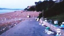 Restos de botellón en la playa de Los Peligros