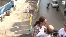 Pablo Iglesias visita las obras del soterramiento