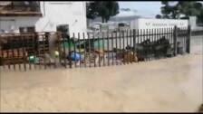 Bomberos a punto de ser arrastrados por el agua durante las labores de rescate en Orihuela