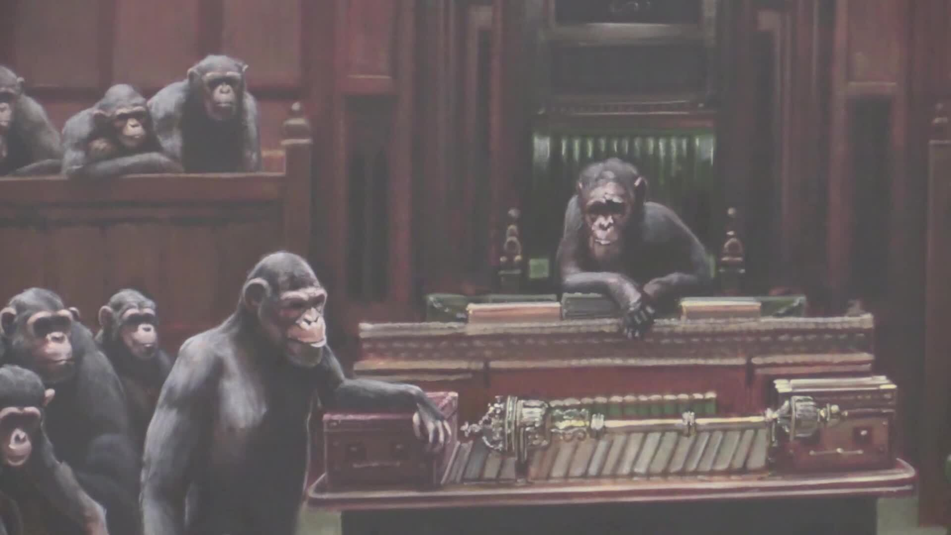 Banksy artwork of MPs as chimps displayed 'to mark Brexit Day'