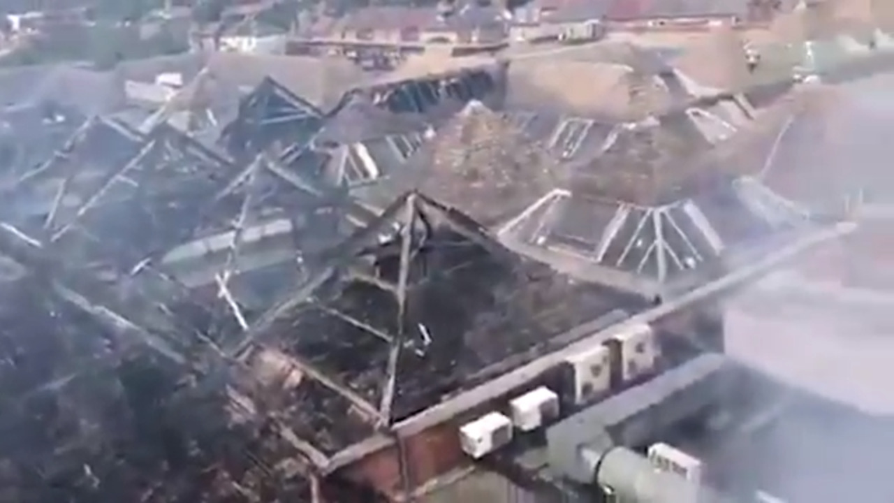 The Mall Walthamstow fire: Aerial footage reveals catastrophic damage after east London shopping centre blaze
