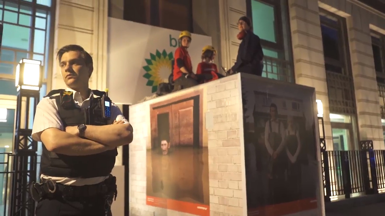 Greenpeace protesters 'shut down' BP's London HQ with blockades weighing 'several' tonnes each 'for fuelling climate emergency'