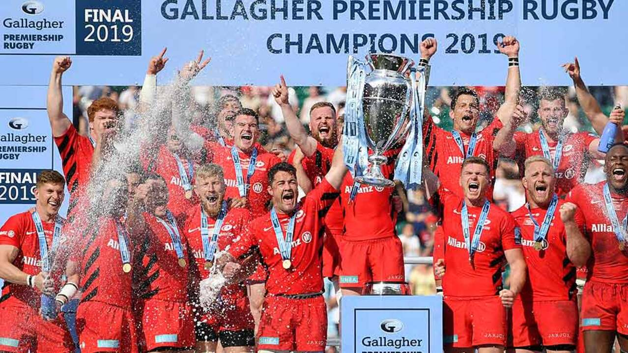ca434cd5ae8 Saracens lift the Gallagher Premiership trophy