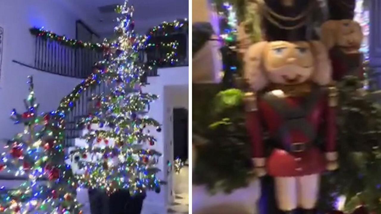 christmas decorations office kims. Kim Kardashian Shows Off Mum Kris Jenner\u0027s Breathtaking Christmas Decorations Featuring FOUR Giant Trees, Life-sized Reindeer And A Polar Bear Sculpture Office Kims H