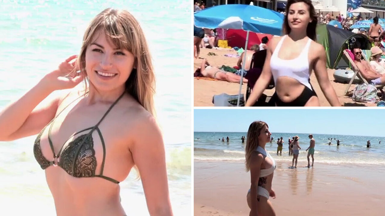 1fc000a59e218 Model hits Bournemouth beach in latest sexy swimwear, rating them out of  ten for comfort and support
