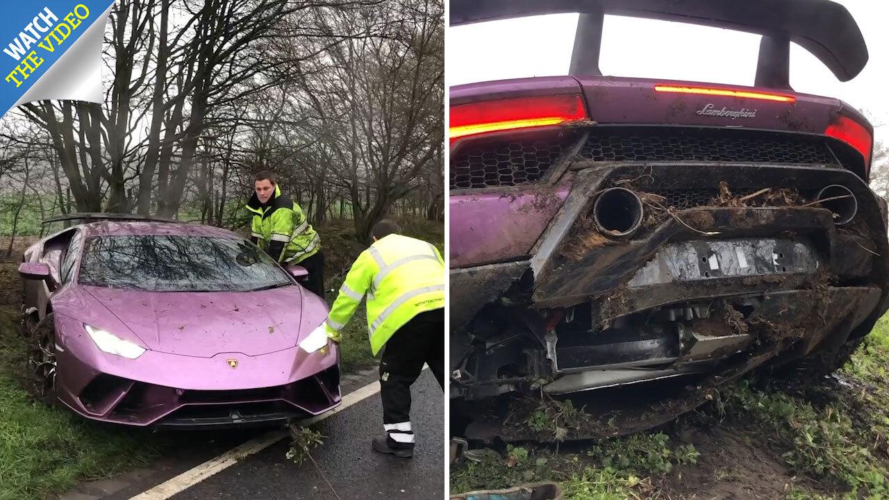 270k Purple Lamborghini Found Abandoned In Ditch Near Tottenham