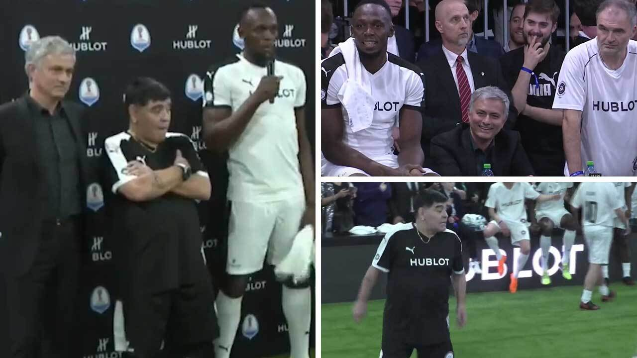 Usain Bolt and Jose Mourinho face Diego Maradona in Hublot s Match of  Friendship… as icons Marcel Desailly f50323b2f