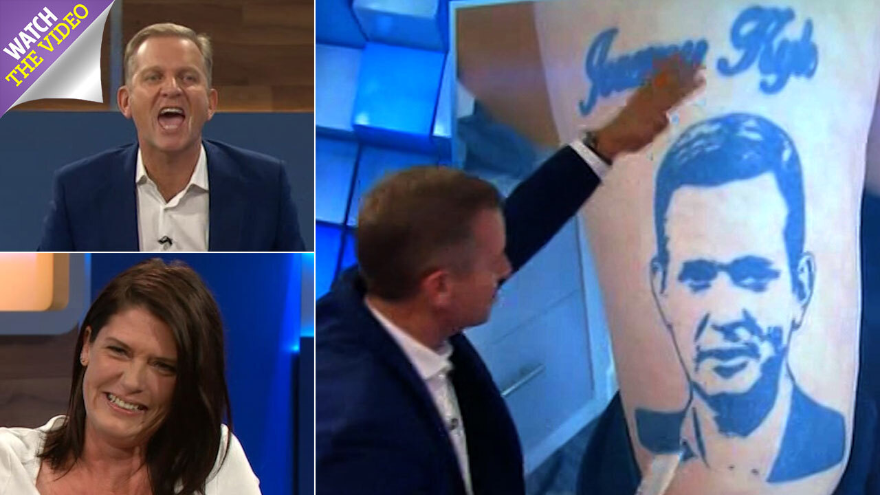 808747215 Jeremy Kyle Show viewers left horrified as guest pulls down her trousers  and reveals she's got Jeremy's FACE tattooed on her leg – but host loves it