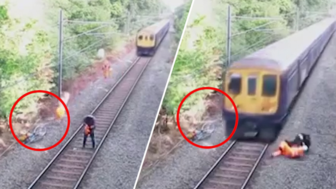 How video of a rail worker 'saving man from path of oncoming