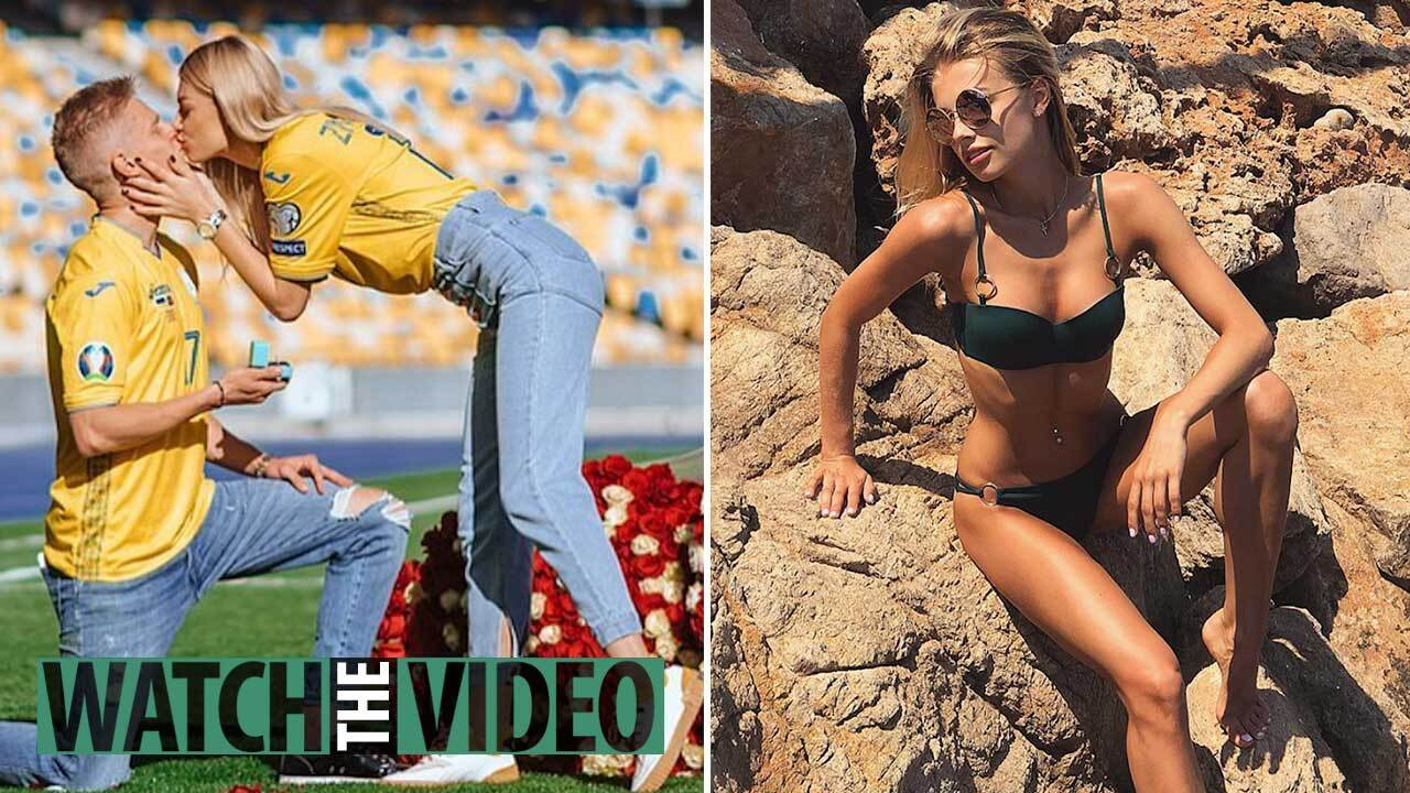 Zinchenko proposes to stunning girlfriend in stadium hours after kissing  her live on TV following Ukraine's Euros berth