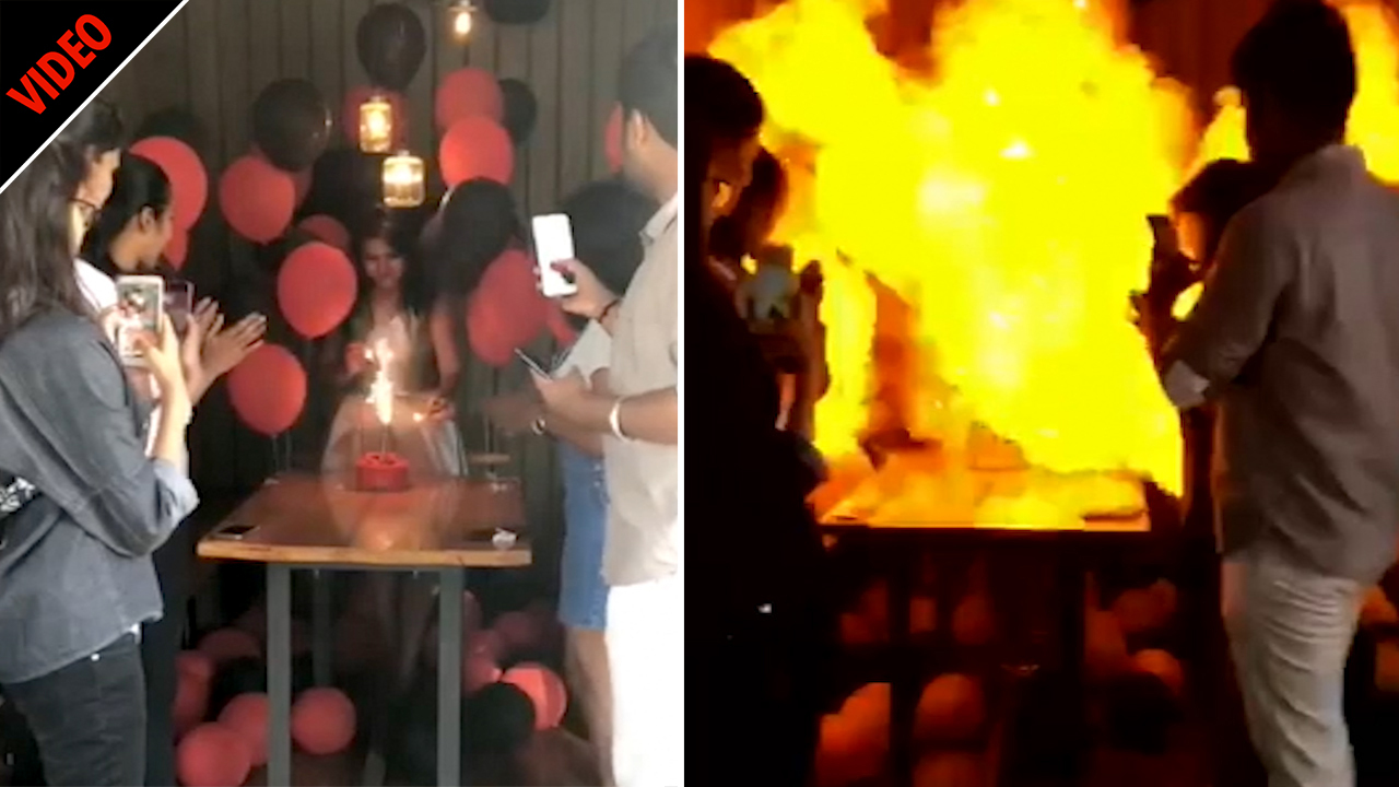 Horrifying moment birthday girl's candles cause hydrogen