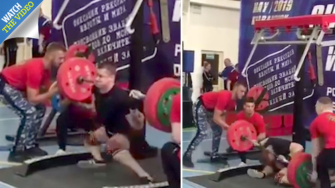 3219c1b030 Powerlifter collapses under huge weight as leg breaks in several places in  horror incident