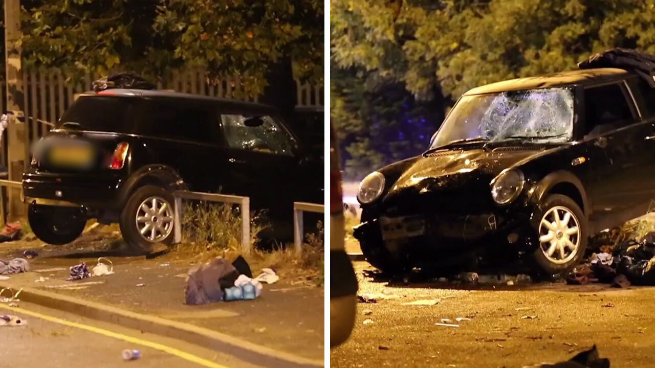 Four seriously injured as speeding Mini ploughs into crowd of