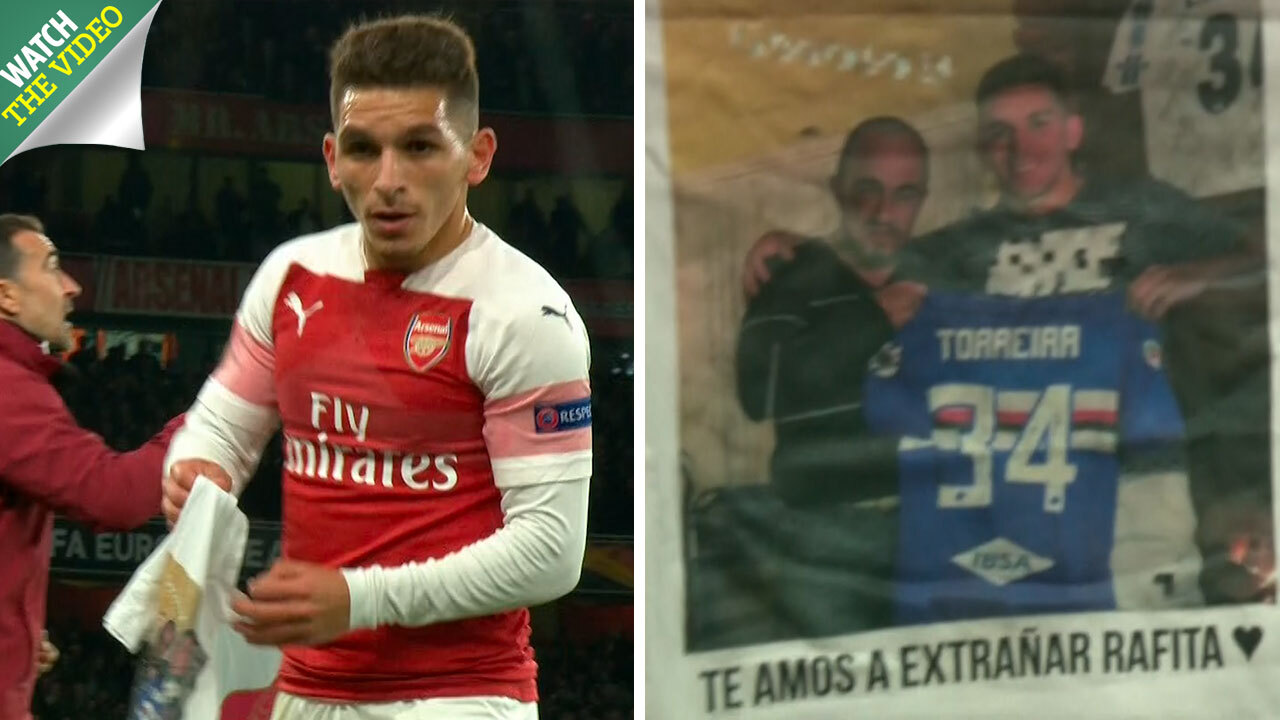 detailed look 9b6ee 18663 Arsenal star Torreira holds up emotional t-shirt tribute to ...