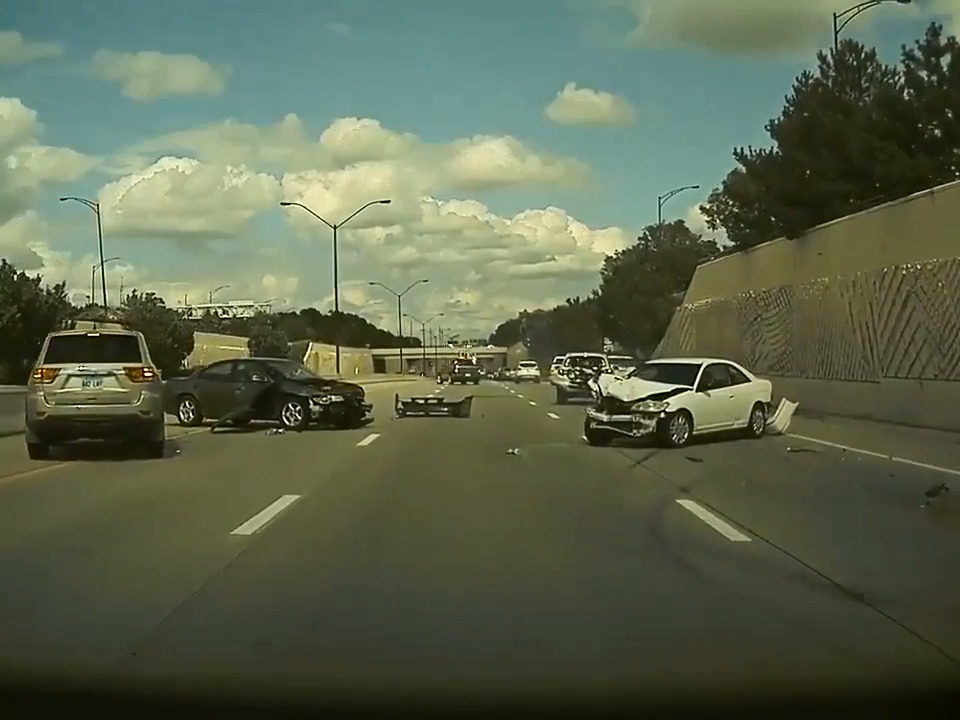 Video: Tesla driver captures 'bumper car' motorway pile-up